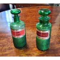 Pair Victorian Green Glass Poisen Bottles