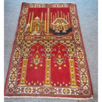 Antique Afghan Pictorial Temple Prayer Rug