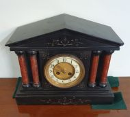 Victorian Black Slate & Red Marble Mantel Clock
