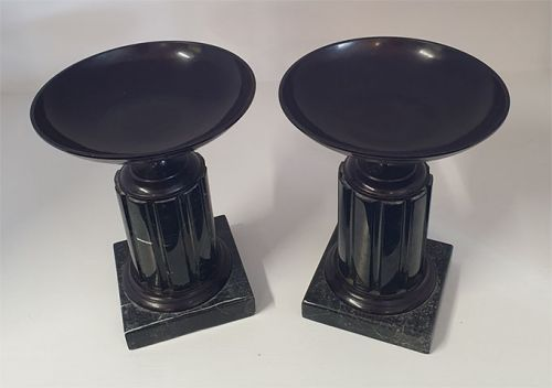 Pair Victorian Marble and Bronze Tazzas