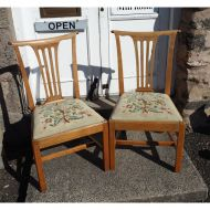 Pair 18th Century Bleached Walnut Chairs