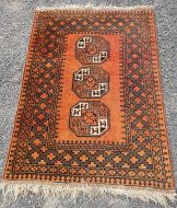 Small Afghan Rug of Elephants Foot Design